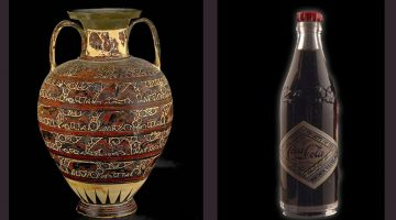 a student art example from the teacher. a cola bottle and vase side by side.